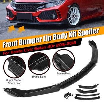 4 Pcs Bumper Mobil Depan Bumper Bibir Splitter Diffuser Bibir Tubuh Kit Spoiler Pelindung untuk Honda Civic Sedan 4Dr 2016 2017 2018