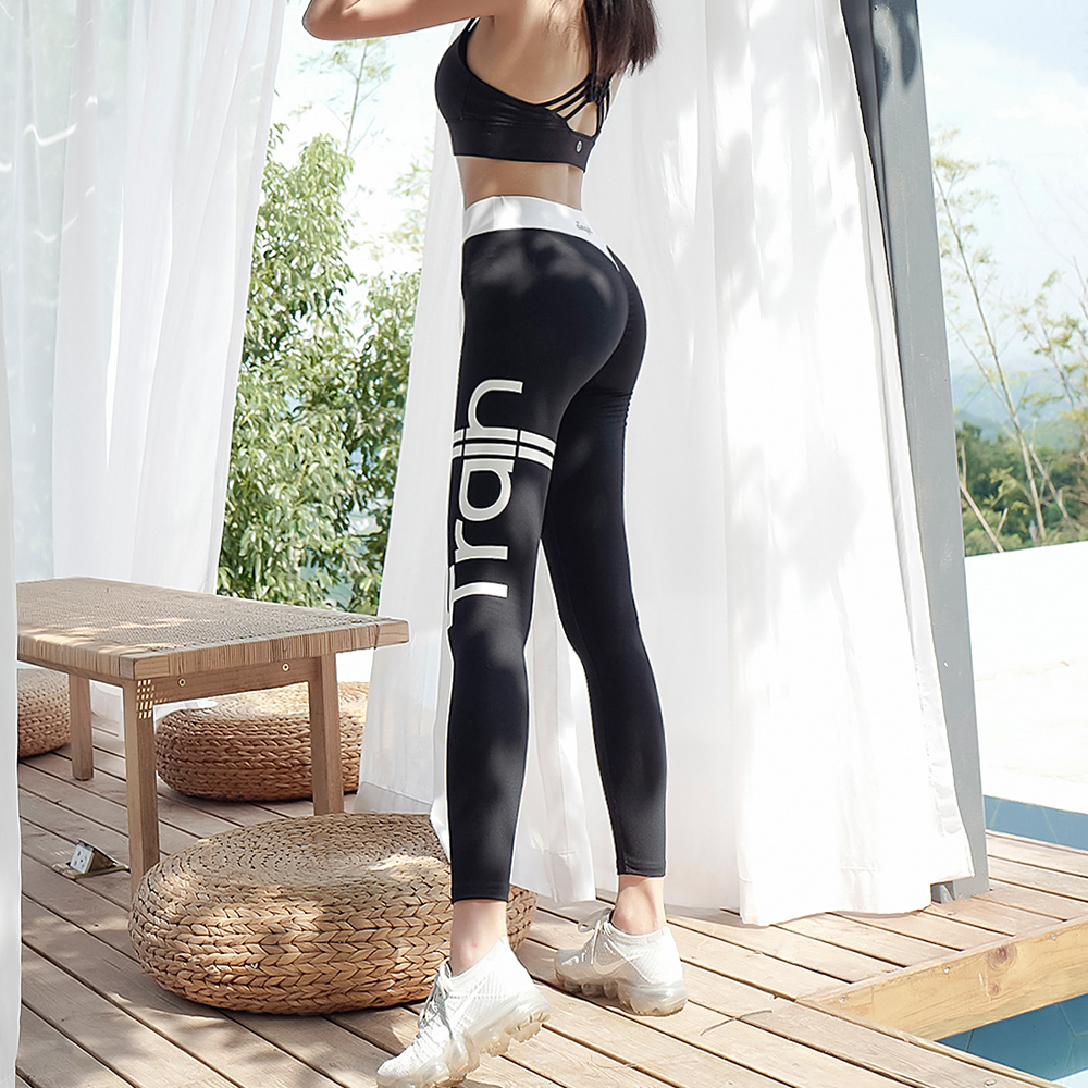 Women Sports Leggings Letter Print Sportswear High Waist Tummy Control Skinny Pants Sexy Pull UP Fitness Leggings Mujer