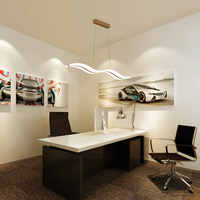 Modern Acrylic Wave Pendant Lights Home Deco Kitchen Hanging Lamps for Living Room Pendant Dining Room Office LED Light Fixtures