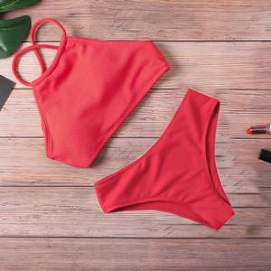 Women Swimwear Bikini-Set Biquini Thong Push-Up Beachwear Sexy Solid