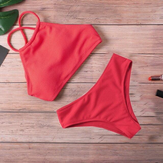 Ribbed Halter Top Biquini Bikini Set 1