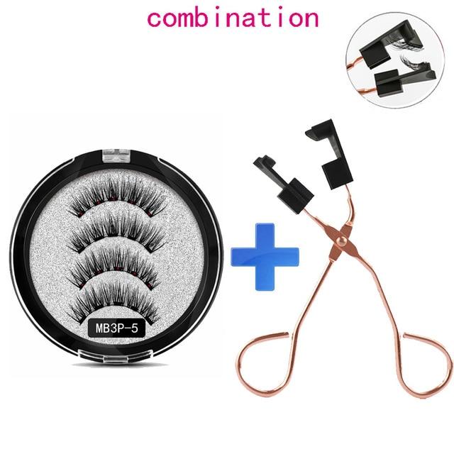 MB Magnetic Eyelashes with 5 Magnets Handmade Reusable 3D Mink False Eyelashes for Makeup faux cils magnetique naturel Tweezers 2