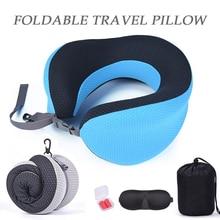 Foldable Adjustable U Shape Travel Pillow with Eyemask Eerplug Slow Rebound Memory Foam Office Home Nap Neck Pillow Car Aircraft ксения львовна красильникова о себе с точностью до… моя первая книга стихов…