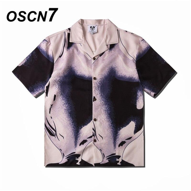 OSCN7 Casual Street Printed Short Sleeve Shirt Men 2020 Hawaii Beach Oversize Women Fashion Harujuku Shirts For Men CSD08