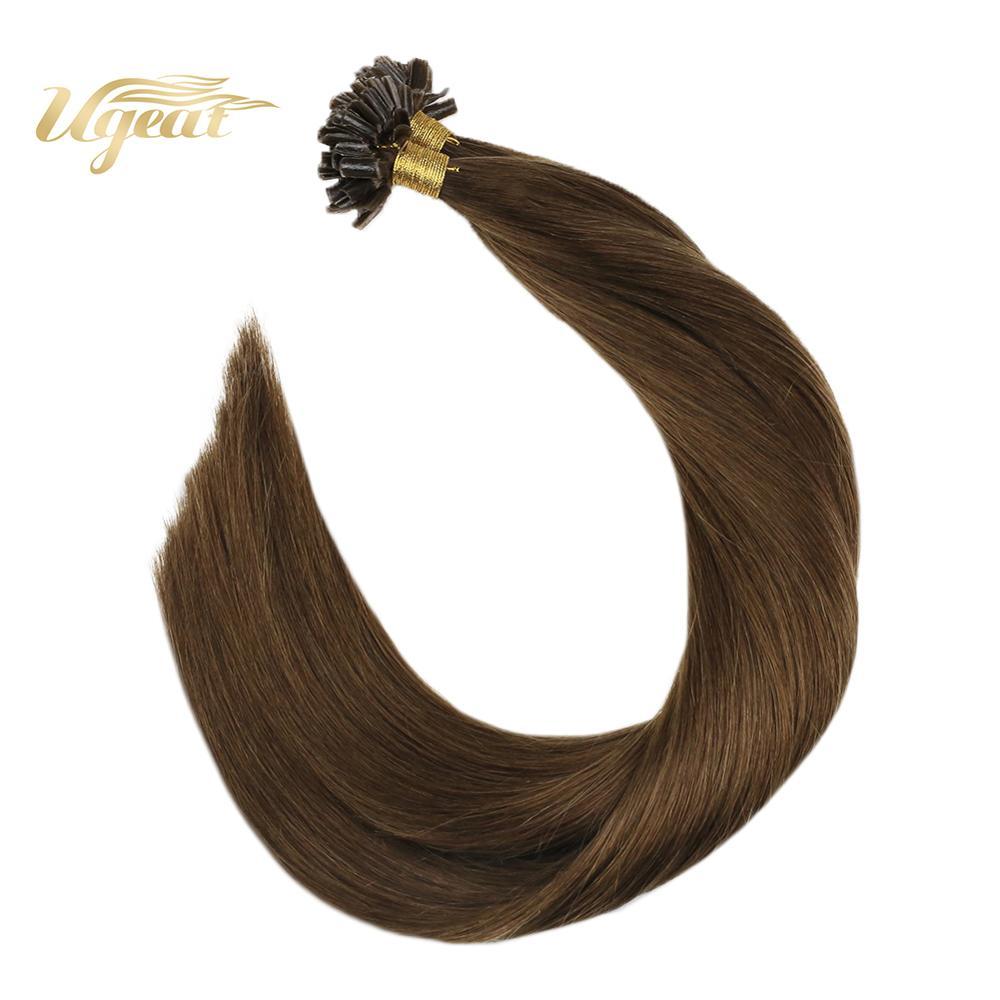 Ugeat Nail Tip Hair Extension Fusion Keration Bonde Hair Machine Remy Hair Chestnut Brown #8 U Tip Hair Extension 50-100G