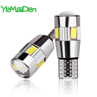 2x Auto 5W5 LED Lamp T10 W5W LED Signal Light Canbus 12V 6000K Auto Claerance Wedge Side Reverse lampen 5630 6SMD Blauw Geen fout|Signaal lamp|   -