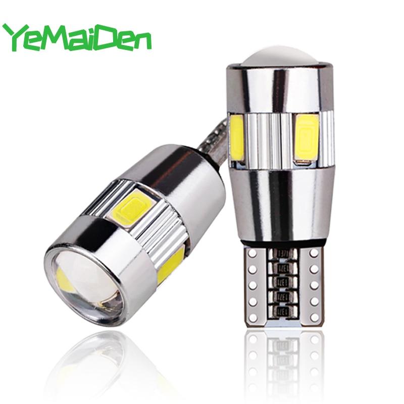 2x Car 5W5 LED Bulb T10 W5W LED Signal Light Canbus 12V 6000K Auto Claerance Wedge Side Reverse Lamps 5630 6SMD Blue No Error