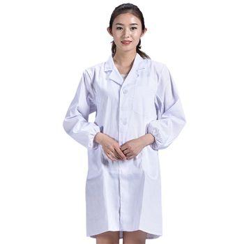 Unisex Long Sleeve White Lab Coat Lapel Collar Button Down Doctor Blouse G92D