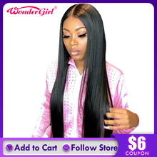 Прямые Человеческие волосы Remy, 13x6, 360, прямые бразильские передние парики, предварительно отобранные волосы Wonder girl