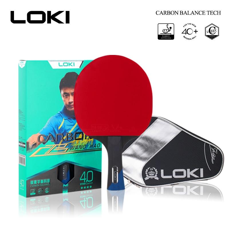 LOKI 4 étoiles Tube carbone Tech raquette de Tennis de Table formation professionnelle batte de Ping-Pong Basswood Ping-Pong pagaie avec sac