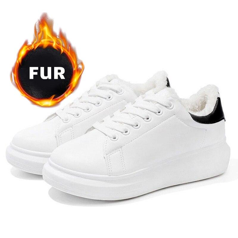 Fahion Winter Shoes Woman Platform Fashion White Sneakers Women Vulcanize Shoes Casual Sneaker Warm Fur Chunky Zapatillas Mujer