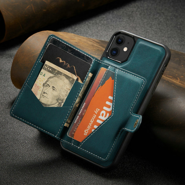 Suitable for IPhone 12 Multi Card Wallet  Magnetic Mobile Phone Case  2