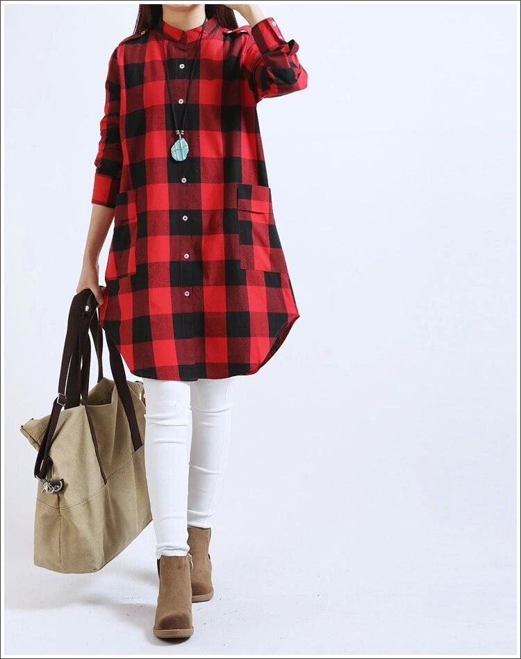 Autumn plus size cotton blouse mid-length long-sleeved cotton linen cardigan fashion plaid shirt spring women long shirt good