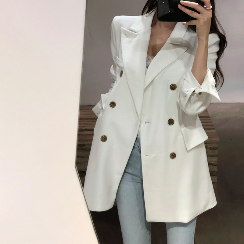 WOMENGAGA 2019 Autumn Solid Color Leisure Time Temperament Small Suit Woman Chic Both Row Buckle White Man's Suit Tide ZX341