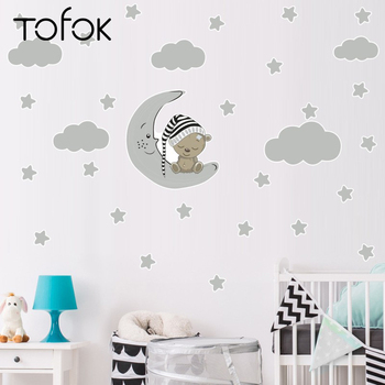 Tofok Lovely Bear Moon Stars DIY Wall Sticker Home Baby Children Room Nursery Decorative Removable Window Mural Decal