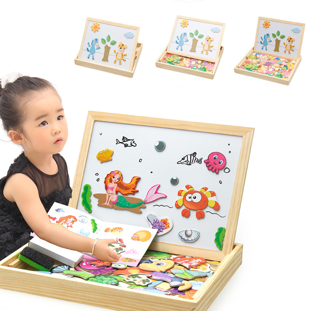 100 + Woods Magnetic Educational Toys Children 3D Puzzle Map / Animal / Vehicle / Circus Table 5 Style Learning Wooden Toys