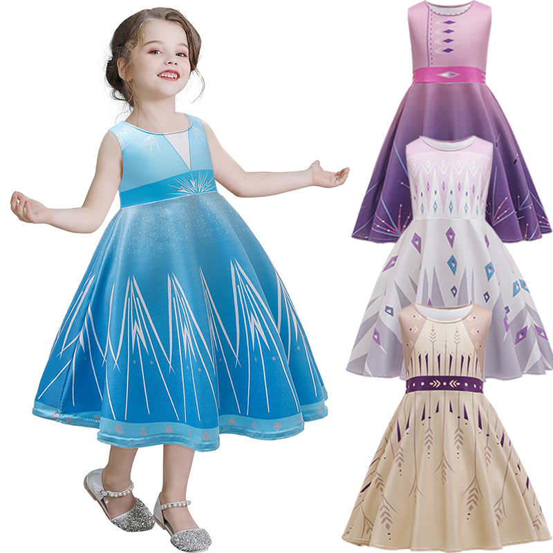 Disney Frozen 2 Elsa Girls 5-6 Snow Princess Ball Gown Dress Up Christmas Small