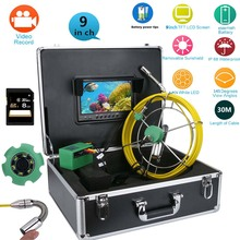 """MAOTEWANG  9"""" Monitor 30/50M Pipe Inspection Video Camera, 8GB TF Card DVR IP68 Drain Sewer Pipeline Industrial Endoscope"""