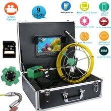 """Maotewang 9 """"monitor 30/50 m câmera de vídeo de inspeção de tubulação, 8 gb tf cartão dvr ip68 dreno esgoto pipeline endoscópio industrial"""