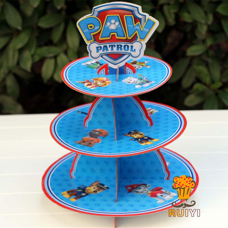 Paw Patrol  Party Event Children's Birthday Party Three-tier Cake Stand Dessert Tray Anime Figure Kids Gifts Supplies D50