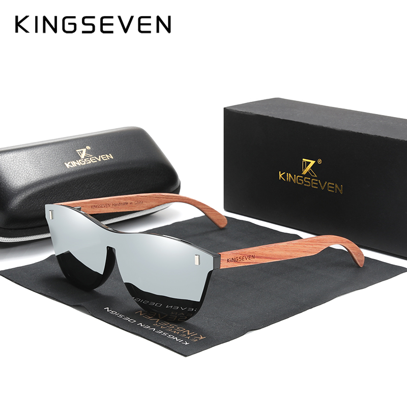 KINGSEVEN Women's Glasses Natural Bubinga Wooden Sunglasses Men Polarized Fashion Sun Glasses Original Wood Oculos de sol 3