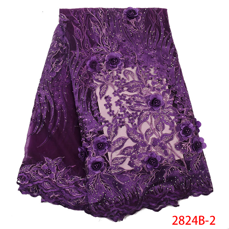 Latest African Laces 2019 French Tulle 3D Lace Fabric High Quality Nigerian Beaded Fabric Lace With Stones Purple KS2824B-2