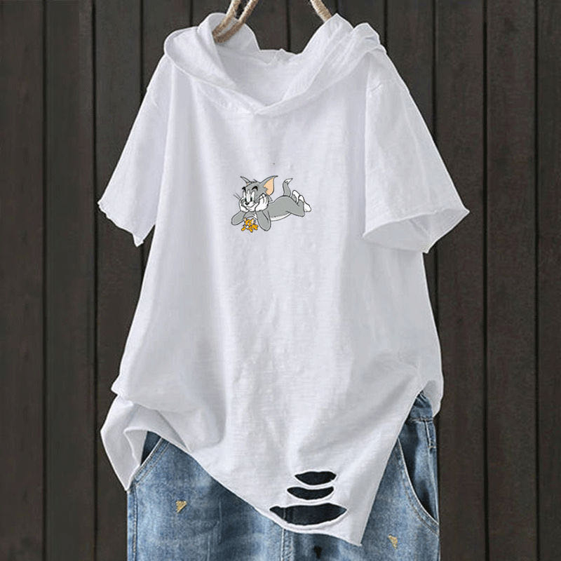 F&je New Fashion Summer Women T Shirt Plus Size Short Sleeve Loose Casual Hooded Tee Shirt Hole Cotton Femme Print Tops D32 3