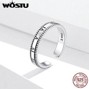 WOSTU Vintage 925 srebro duża cyfra rzymska pierścionki dla kobiet prezenty dziewczyny otwarte Retro antyczne pierścionki biżuteria ślubna