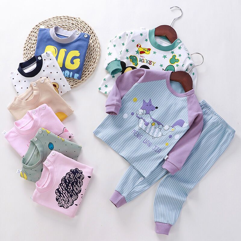 2PCS Spring Pajamas Sets for Girls 1-7Y Long-Sleeved Children Clothing Cotton Boy Sleepwear Suit Casual Kids Home Clothes Pijama