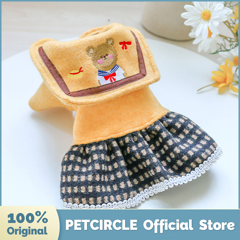 PETCIRCLE Dog Puppy Clothes Student Bear Woolen Dress Fit Small Dog Pet Cat All season Pet Cute Costume Dog Clothes Dog Skirt