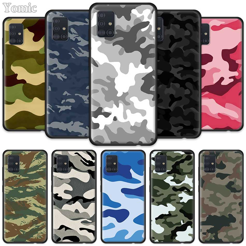 Camouflage Camo Military Case For Samsung Galaxy A51 A71 A20e A30s A40 A50 A70 S20 S10 Plus Note 10 Lite Black Soft Phone Cover