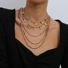 YWZIXLN Boho Charm Bling Crystal Multi-layer Choker Butterfly Pendant Fashion Necklaces Bijoux For Women Elegant Jewelry N069