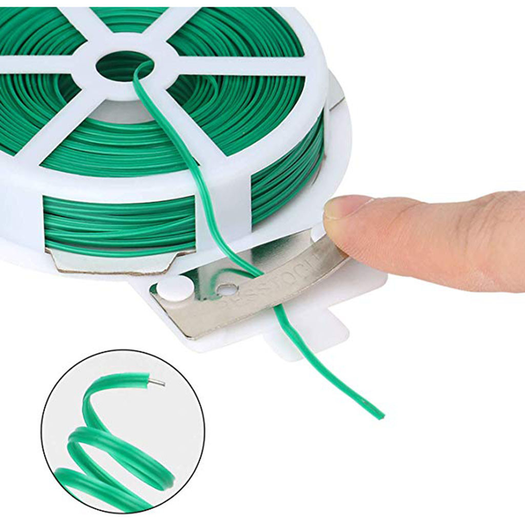 Garden Twist Tie Kitchen Bag Gardening Plant Green Tie Wire Roll With Wire Cutter 20/30/50 Meters FH5