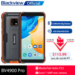Image 1 - Blackview BV4900 Pro IP68 Rugged Phone 4GB 64GB Octa Core Android 10 Waterproof Mobile Phone 5580mAh NFC 5.7 inch 4G Cellphone