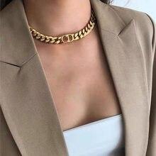 Collier Punk épais en or avec lettres exagérées rétro, ras du cou en acier inoxydable pour femmes, chaîne pour filles, bijoux cadeau