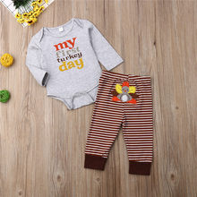 0-18months Newborn Set Thanksgiving Days Gifts Gray Baby Bodysuits Outfits Turkey Striped Long Pants Set Baby Boys Clothing Set(China)