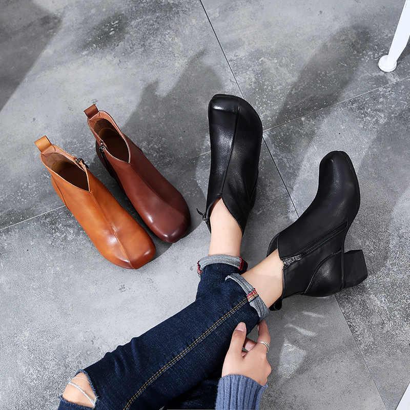 SONDR bottines femme; ботинки из натуральной кожи; женская обувь; сезон весна-осень; коричневые ботильоны для женщин; на платформе; на молнии; bota feminina