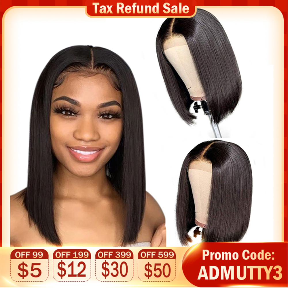 Short Human Hair Bob Wigs Brazilian Straight Lace Front Human Hair Wigs For Black Women Non Remy Lace Front Closure Bob Wig
