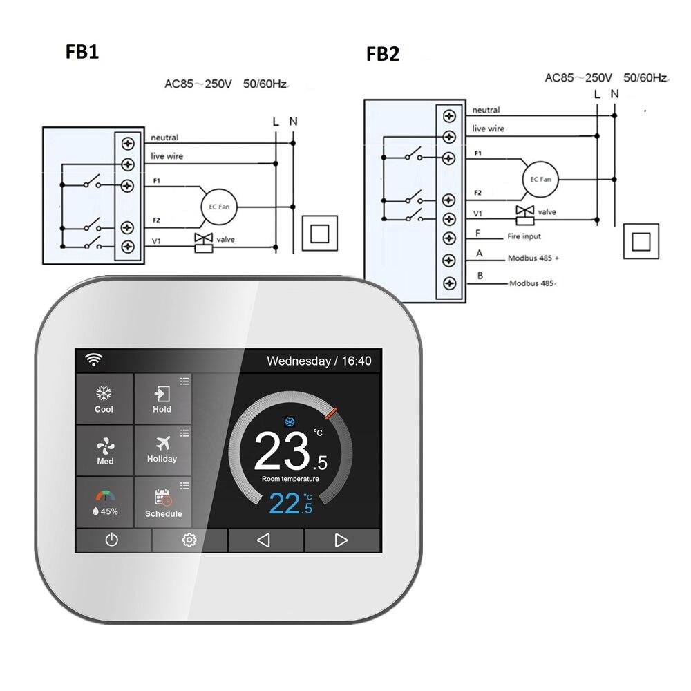 EC FAN 2 Pipe Thermostat Hot Sale Wifi Temperature Controller Modbus RTU RS485 Thermostat