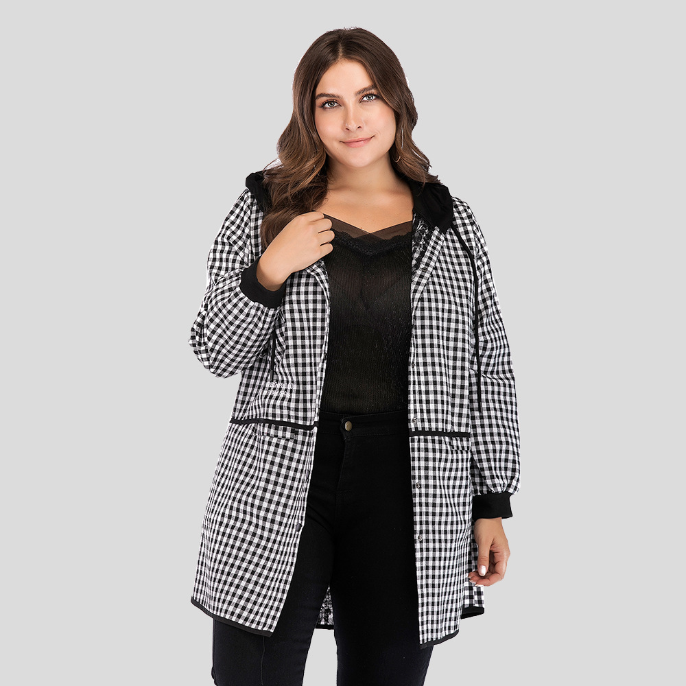 Autumn Fashion New Large Women Classic Plaid Hooded Thin Splicing Casual Windbreaker Coat with Pockets Red Spring Loose Trench