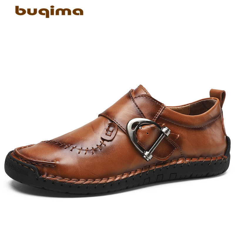Buy buqima men's shoes winter casual leather shoes feet bare high quality slip-on autumn shoes outdoor 38-48 yards