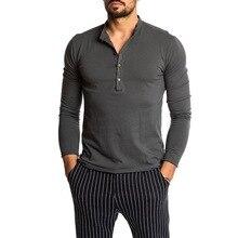 CYSINCOS Men Slim Fit Henry collar TShirt Long Sleeve Stylish Mens Fashion Tee Shirt Male Tops Clothes Streetwear Autumn T shirt