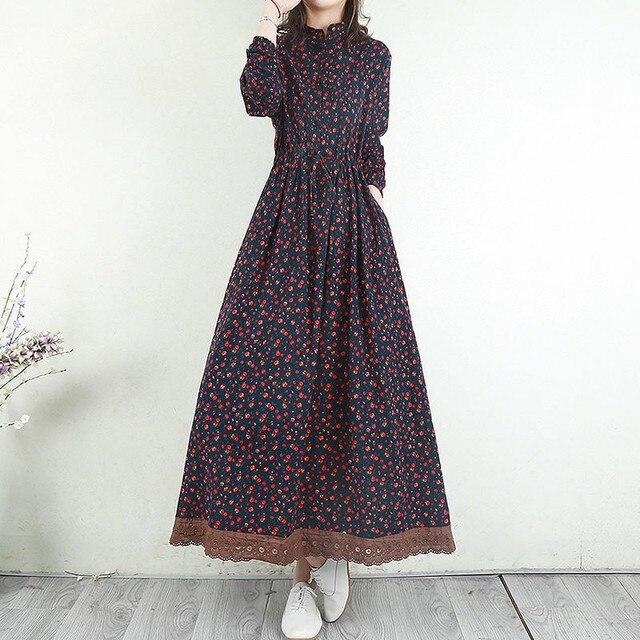 Women Cotton Linen Long Dress New Arrival 2021 Spring Vintage Floral Print Patchwork Lace Loose Female Casual Dresses D024 3