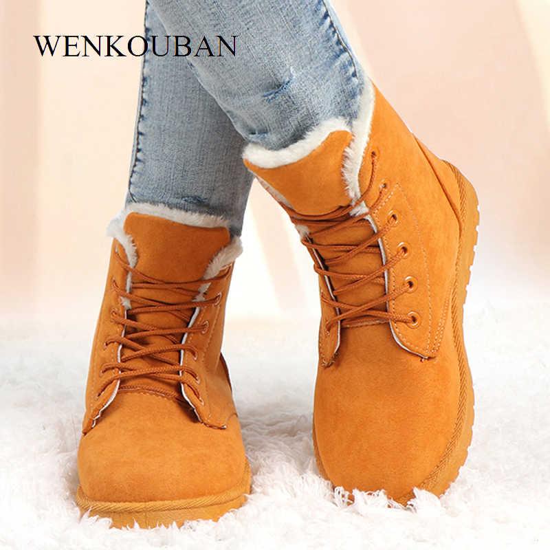 Botas de invierno para Mujer zapatos de felpa abrigados a la moda botas de tobillo de plataforma botas de nieve zapatos de piel femenina botas de Mujer 2019