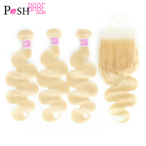 POSH BABE 5*5 Closure with 613 Platinum Blonde 3 4 Hair Bundle Body Wave Long Malaysian Remy Human Hair Bundle with Lace Closure(China)