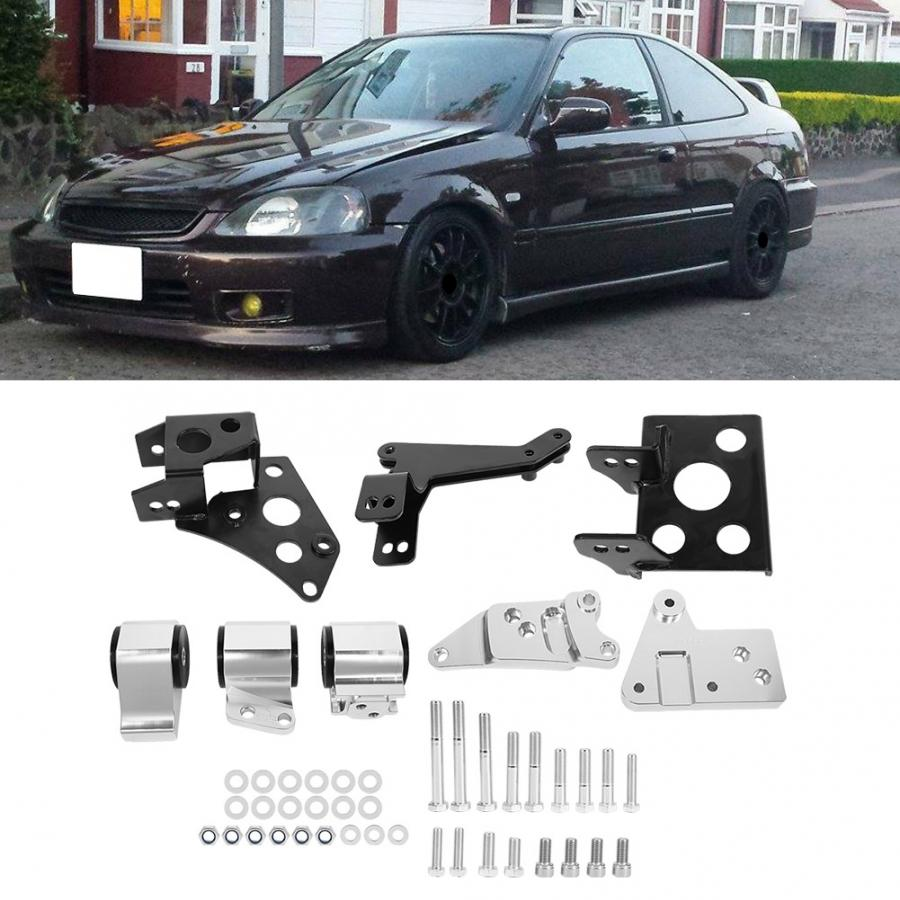Aluminum Alloy Engine Mount Bracket Kit Fit For Honda EK Chassis K-Swap Civic 1996-2000 Car modification accessories