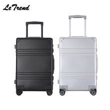 Letrend 100% Aluminum High-quality Spinner Suitcase Pull Rod Box The Rolling Luggage Boarding Bag Travel bag(China)