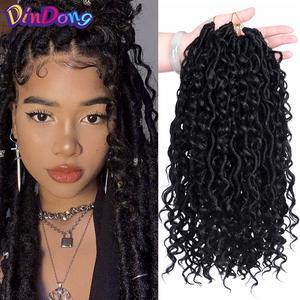 Hair-Extensions Braid Crochet Goddess Boho Faux Locs Bohemian Synthetic for Women Messy