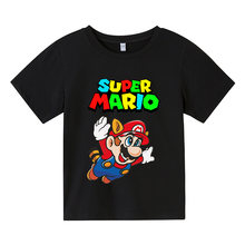 2021 Cartoon super mario yoshi Print Toddler Children T-shirts Kids Anime Summer Funny Tees Boys/Girls 4-14 Tops Clothing,