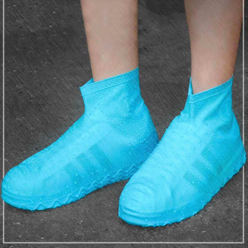 Su geçirmez yağmur ayakkabıları kapakları büyük boy S-L kauçuk elastik gerginlik kaymaz sonbahar kadınlar/erkekler yağmur çizmeleri kapakları